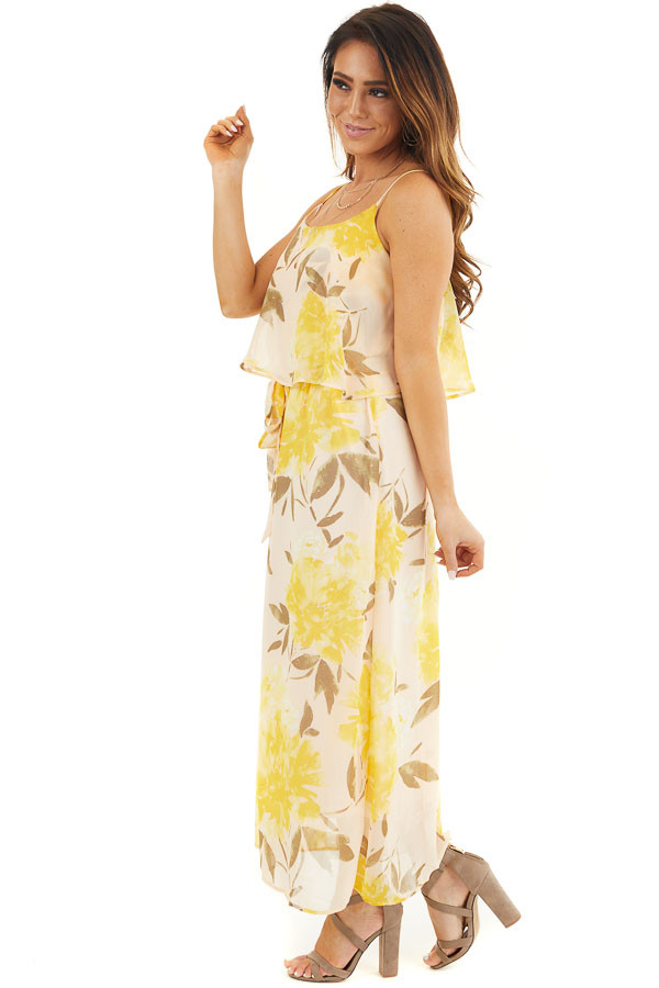 Desert Sand and Marigold Floral Sleeveless Dress with Tie side full body