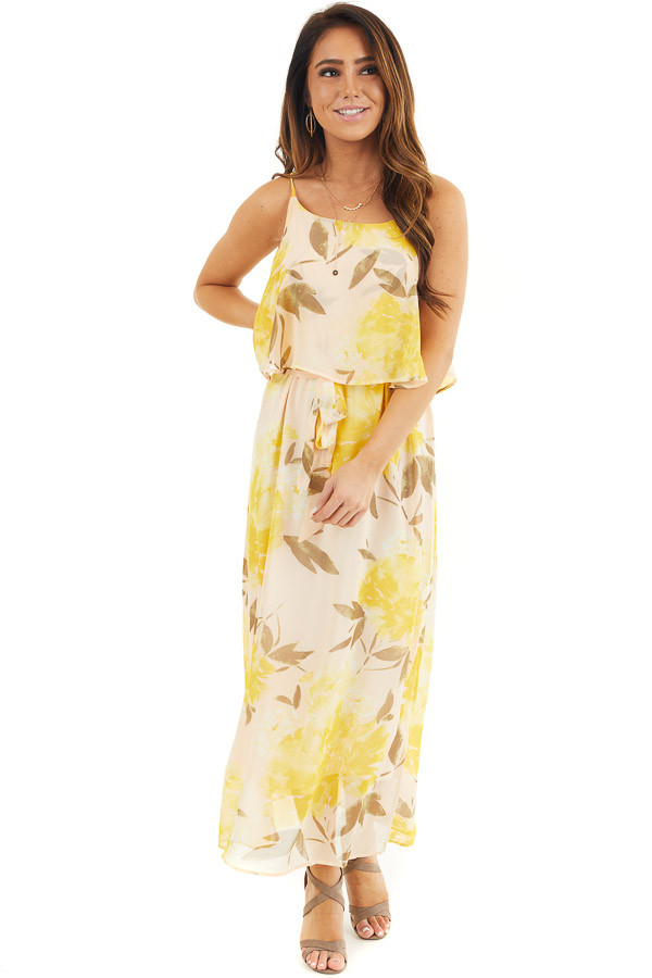 Desert Sand and Marigold Floral Sleeveless Dress with Tie front full body