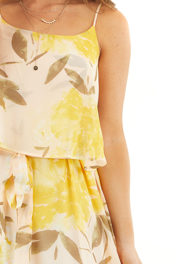 Desert Sand and Marigold Floral Sleeveless Dress with Tie detail