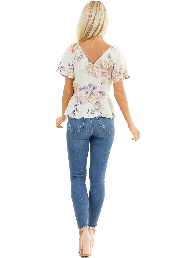 Cream Floral Swiss Dot Top with Buttons and Short Sleeves back full body