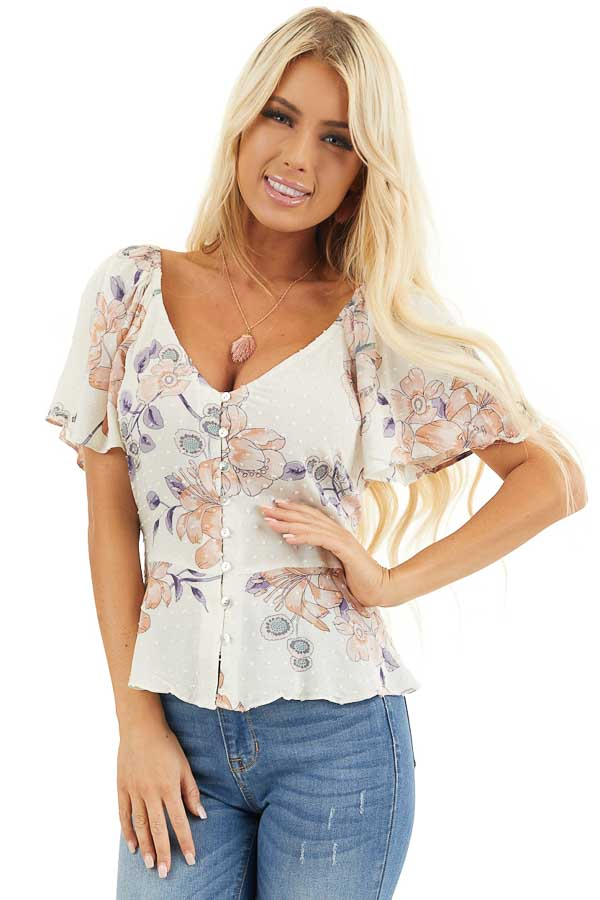 Cream Floral Swiss Dot Top with Buttons and Short Sleeves front close up