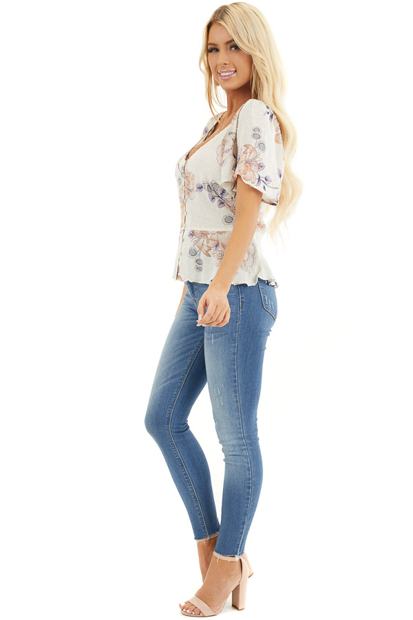 Cream Floral Swiss Dot Top with Buttons and Short Sleeves side full body