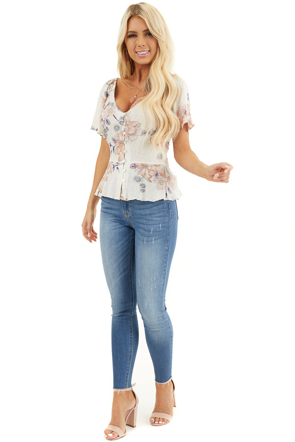 Cream Floral Swiss Dot Top with Buttons and Short Sleeves front full body