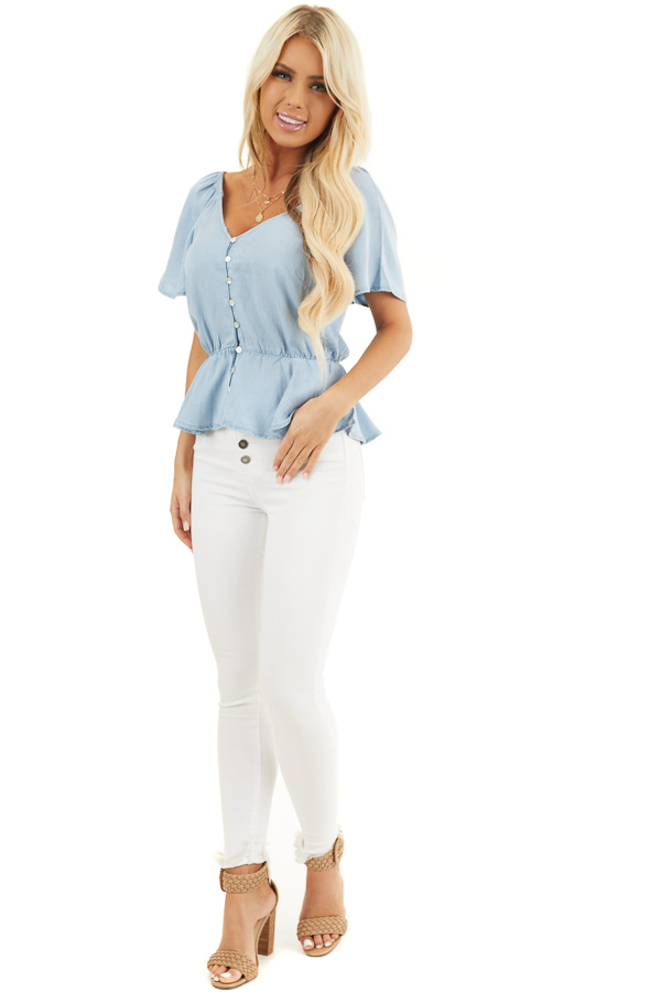 Denim Blue Chambray Peplum Blouse with Button Up Front front full body