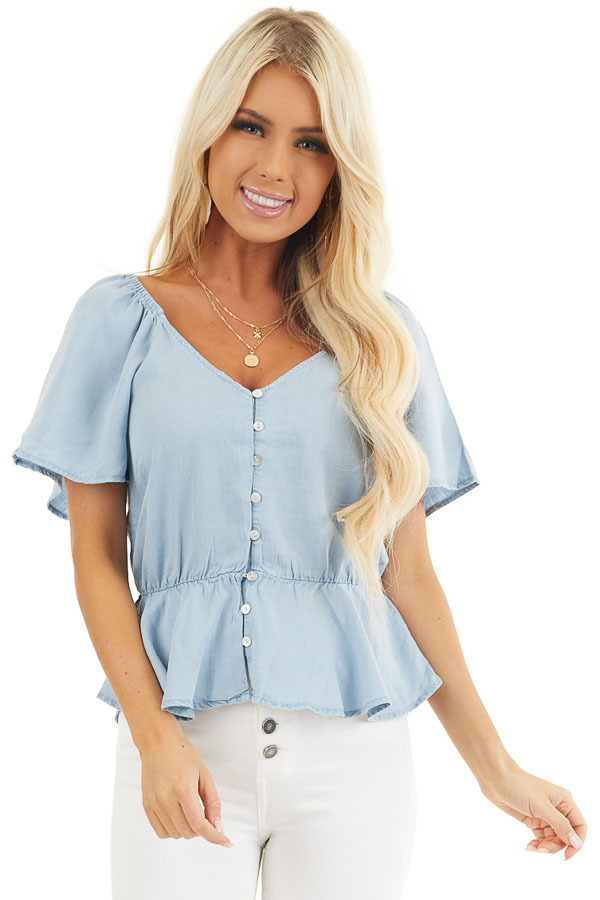 Denim Blue Chambray Peplum Blouse with Button Up Front front close up