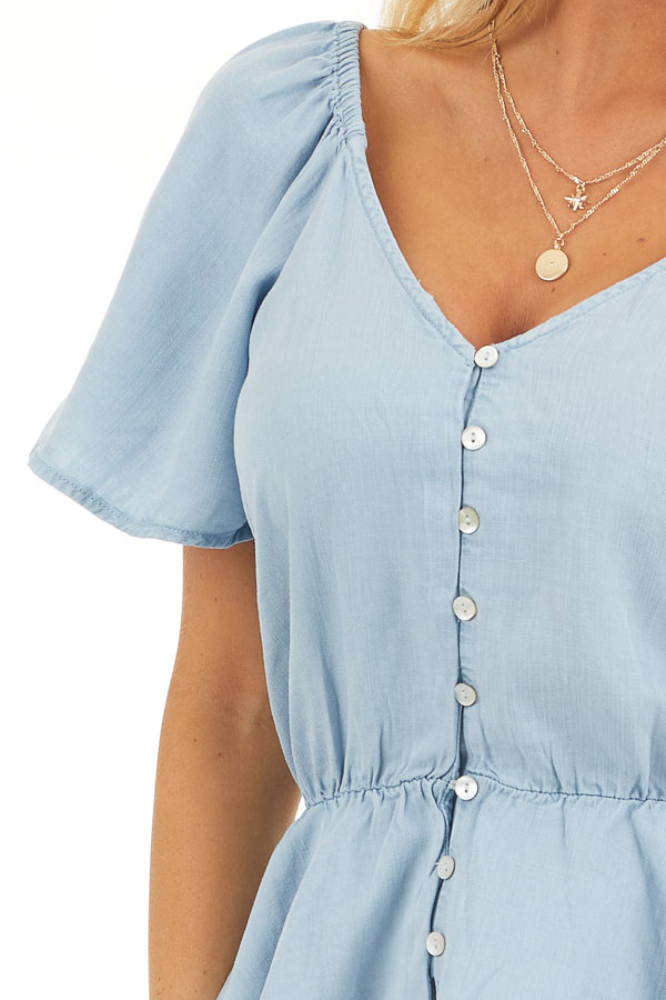 Denim Blue Chambray Peplum Blouse with Button Up Front detail