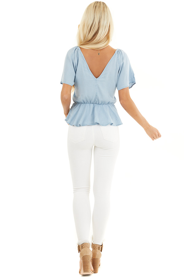 Denim Blue Chambray Peplum Blouse with Button Up Front back full body