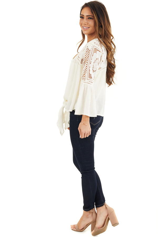 Ivory 3/4 Length Bell Sleeve Crochet Top with Front Tie side full body