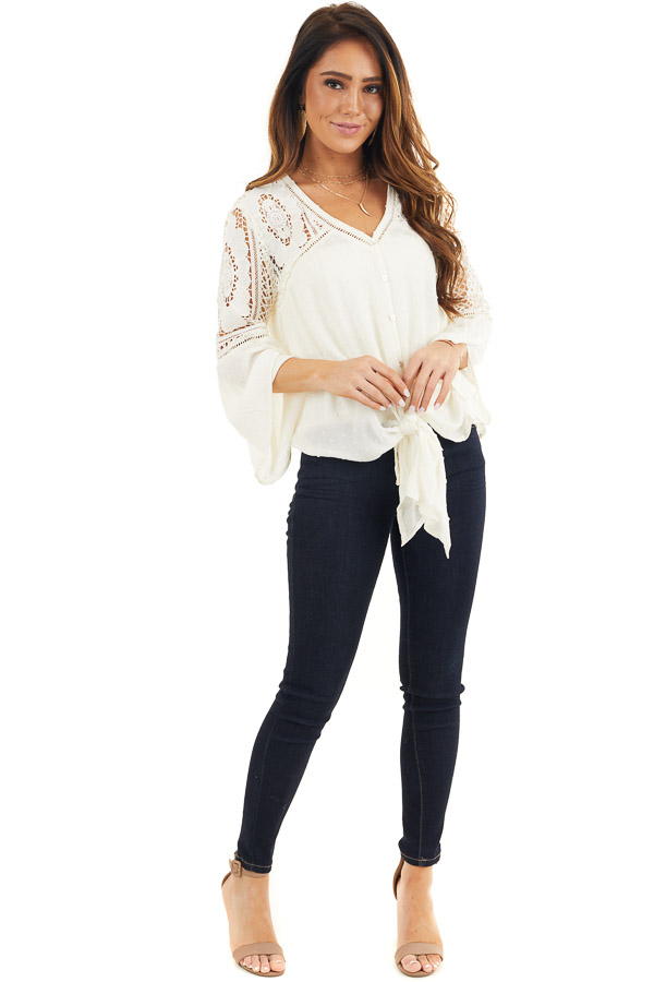 Ivory 3/4 Length Bell Sleeve Crochet Top with Front Tie front full body
