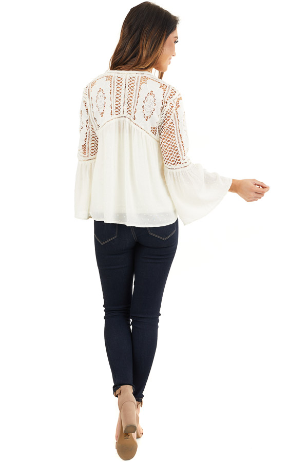 Ivory 3/4 Length Bell Sleeve Crochet Top with Front Tie back full body