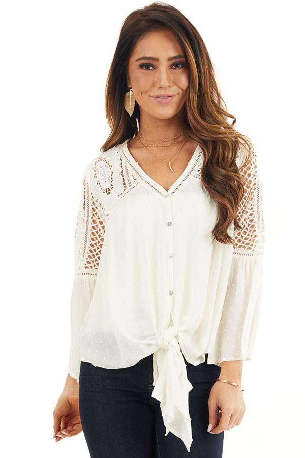 Ivory 3/4 Length Bell Sleeve Crochet Top with Front Tie front close up