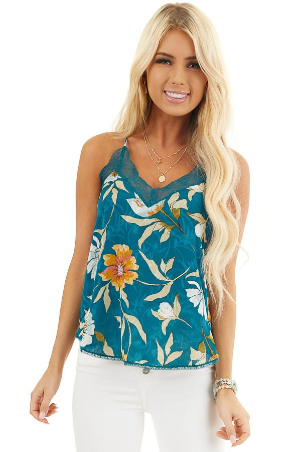 Dark Teal Floral Print Tank Top with Lace Trim V Neckline front close up