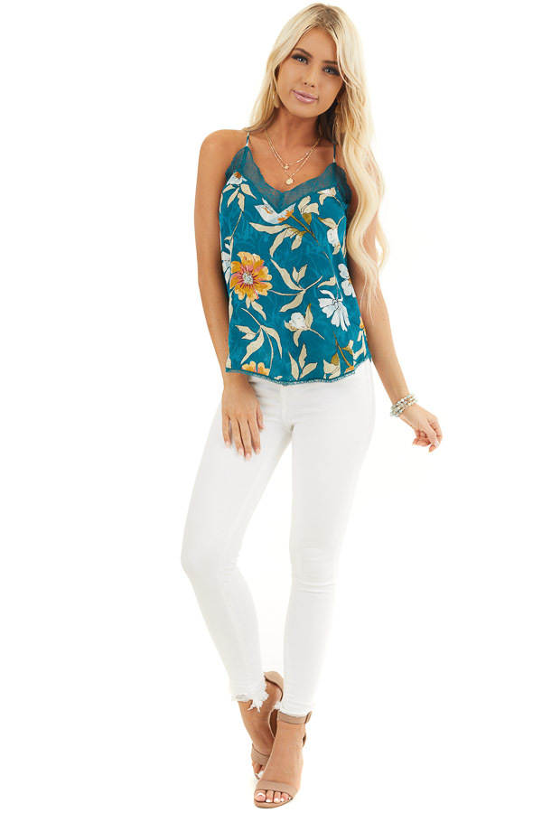 Dark Teal Floral Print Tank Top with Lace Trim V Neckline front full body