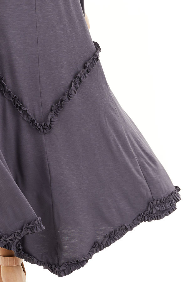 Steel Grey Spaghetti Strap Dress with Ruffle Details detail