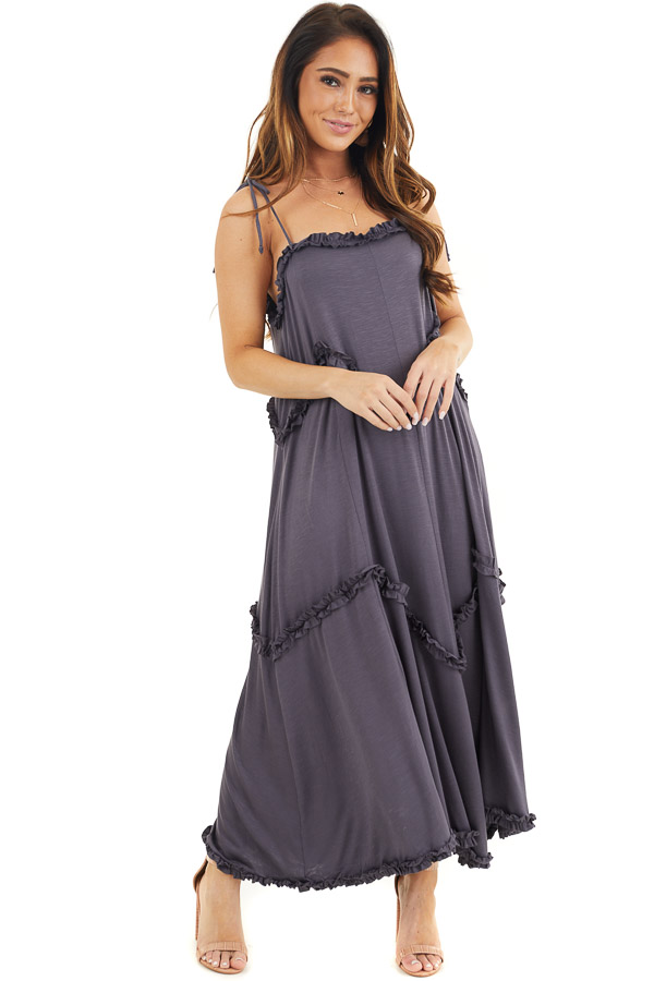 Steel Grey Spaghetti Strap Dress with Ruffle Details front full body