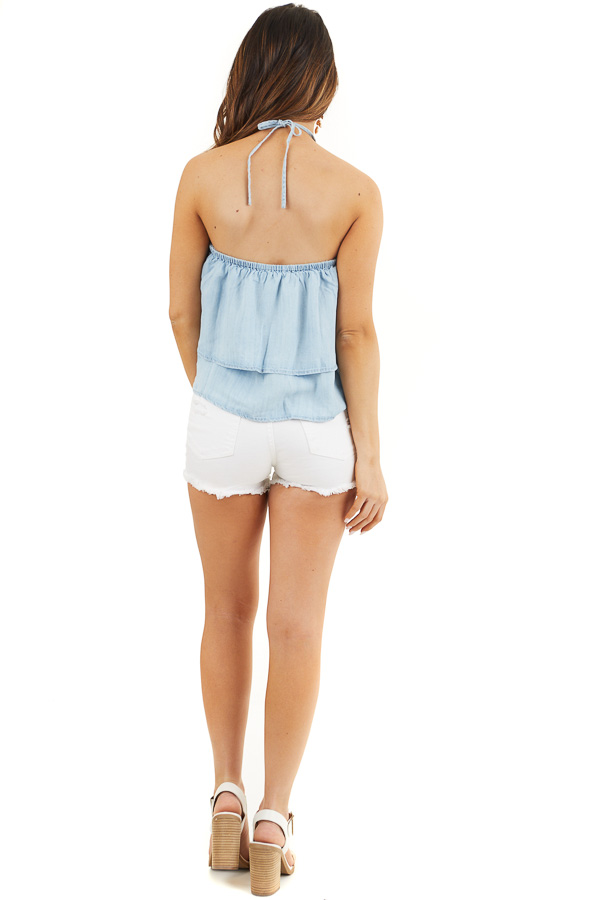 Denim Blue Cropped Chambray Halter Top with Layered Details back full body
