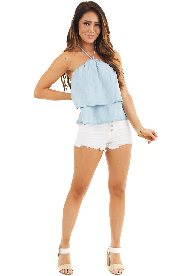 Denim Blue Cropped Chambray Halter Top with Layered Details front full body