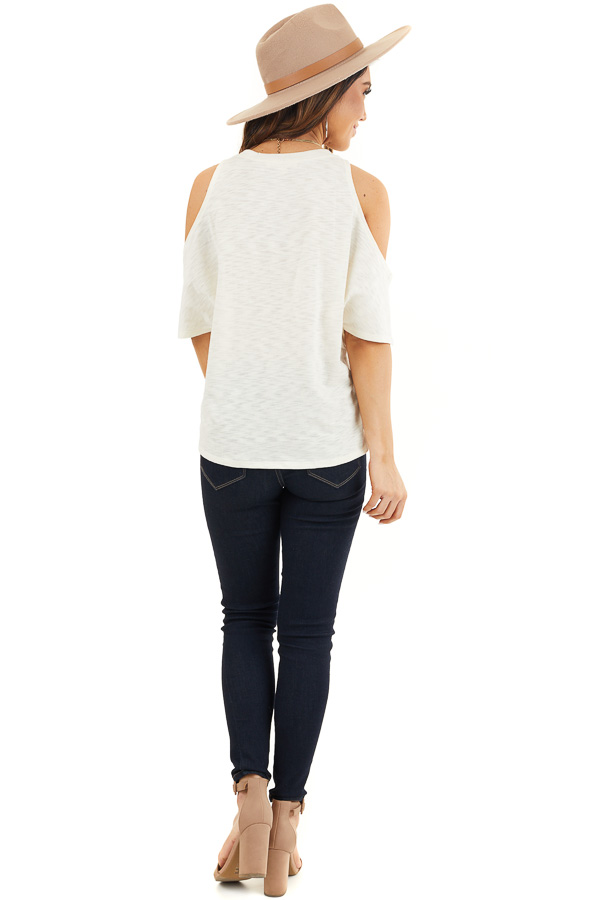 Cream Short Sleeve Top with V Neckline and Cold Shoulders back full body
