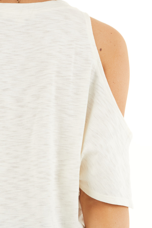Cream Short Sleeve Top with V Neckline and Cold Shoulders detail