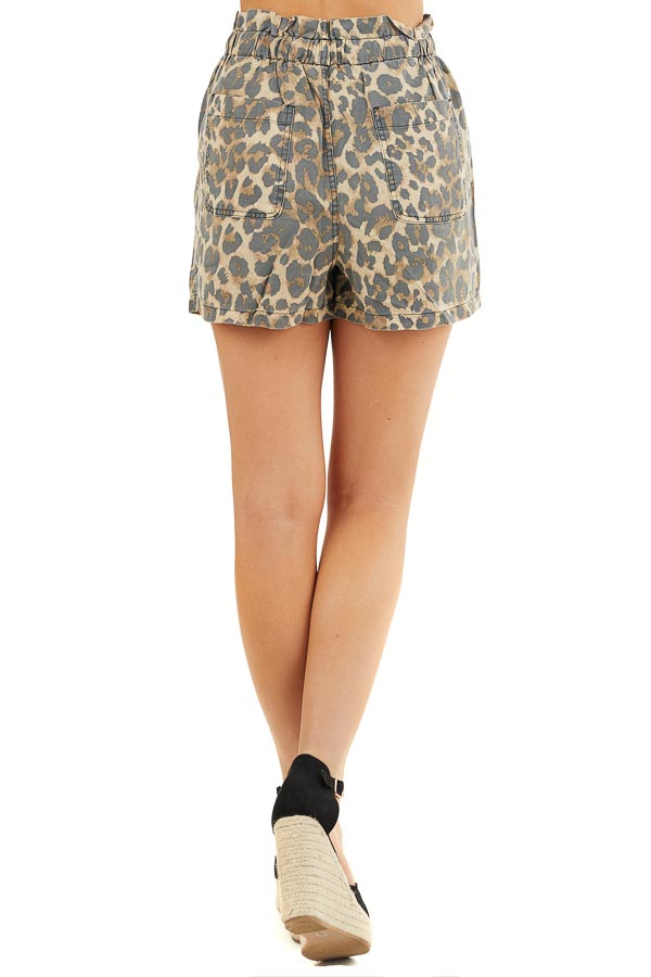 Beige Leopard Print Elastic Waistband Shorts with Pockets back view