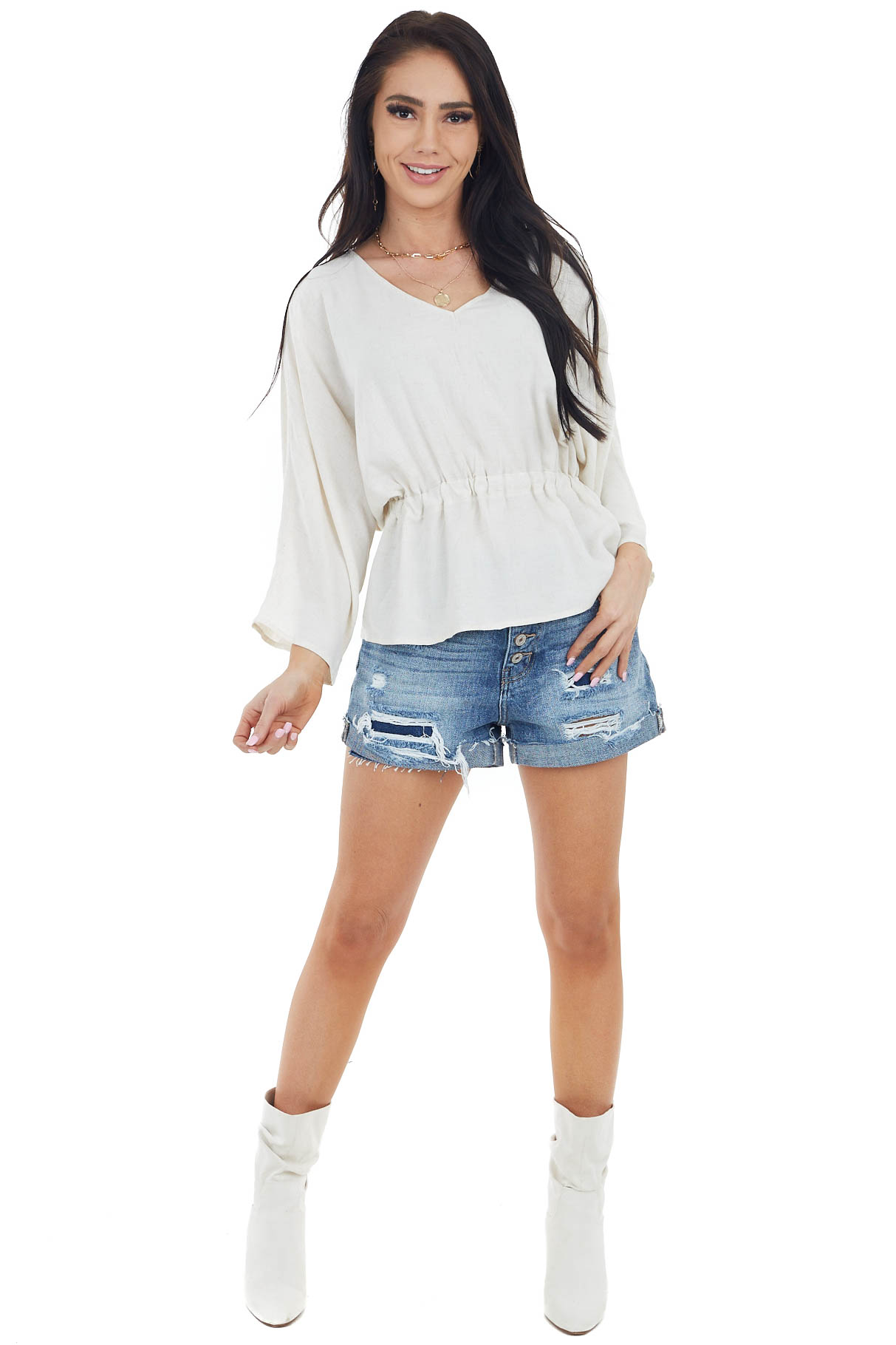 Beige V Neck Top with 3/4 Length Sleeve and Cinched Waist