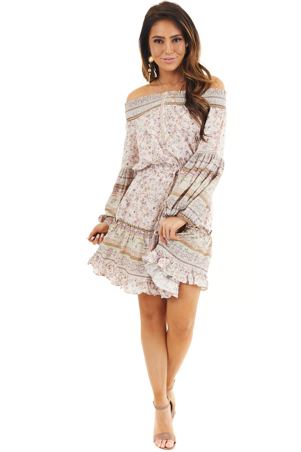 Blush Floral Print Off Shoulder Short Dress with Long Sleeve front full body