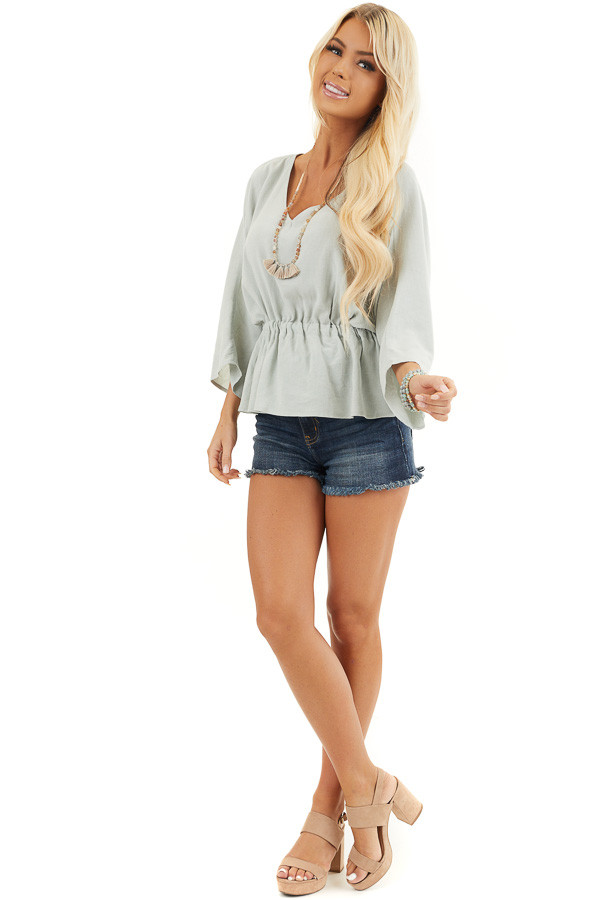 Mint V Neck Top with 3/4 Length Sleeve and Cinched Waist front full body