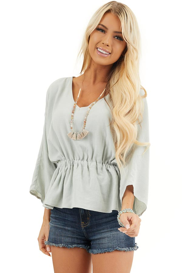 Mint V Neck Top with 3/4 Length Sleeve and Cinched Waist front close up