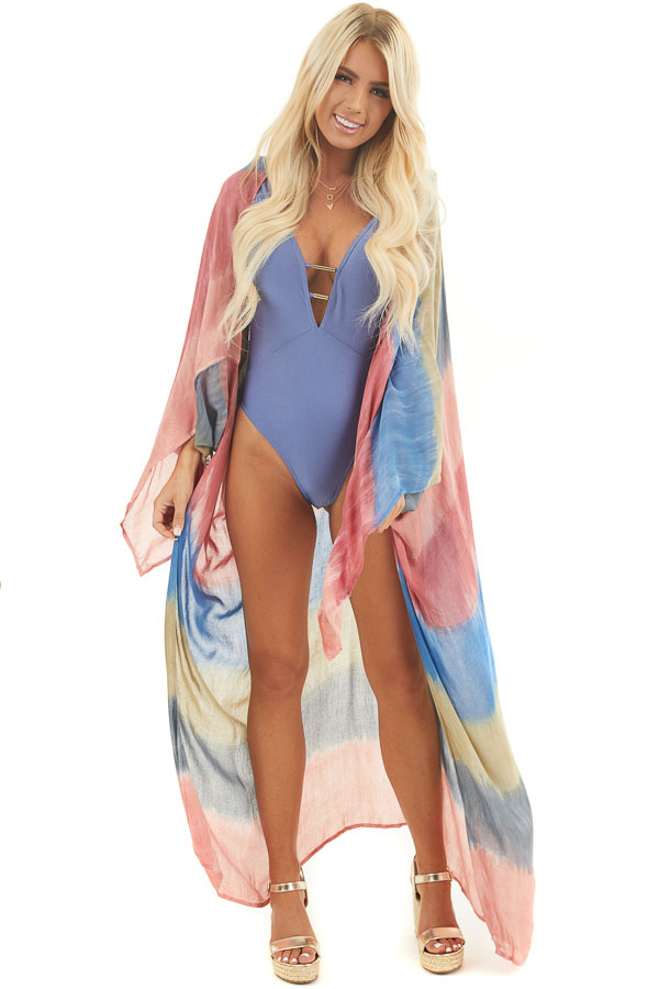 Salmon and Dusty Blue Tie Dye Beach Kimono with Open Front front full body