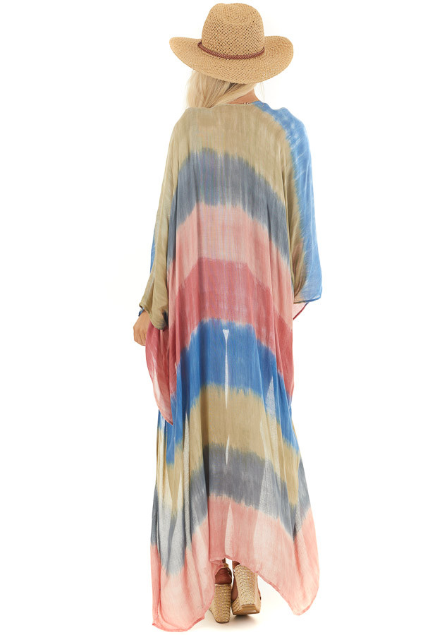 Salmon and Dusty Blue Tie Dye Beach Kimono with Open Front back full body