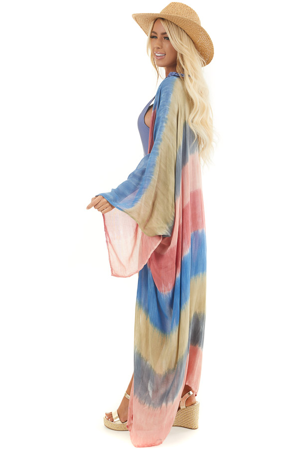 Salmon and Dusty Blue Tie Dye Beach Kimono with Open Front side full body