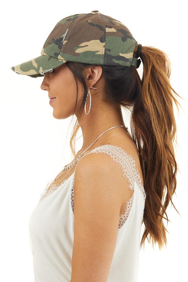Hunter Green Camo Print Baseball Cap with Distressed Details