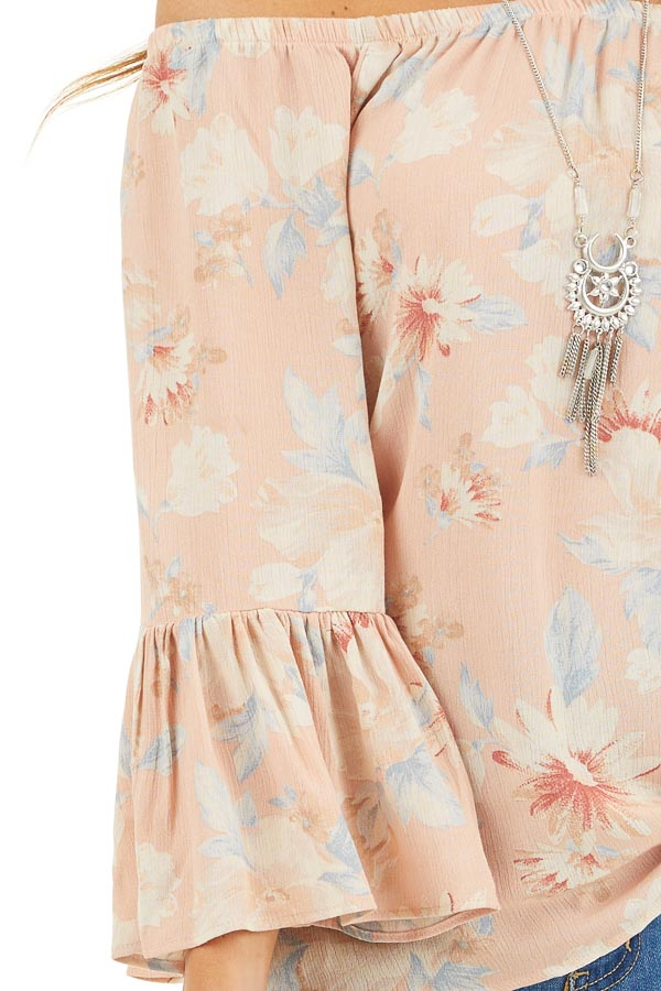 Peach Floral Off the Shoulder Top with Bell Sleeves detail