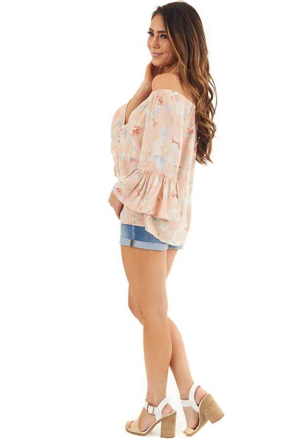 Peach Floral Off the Shoulder Top with Bell Sleeves side full body