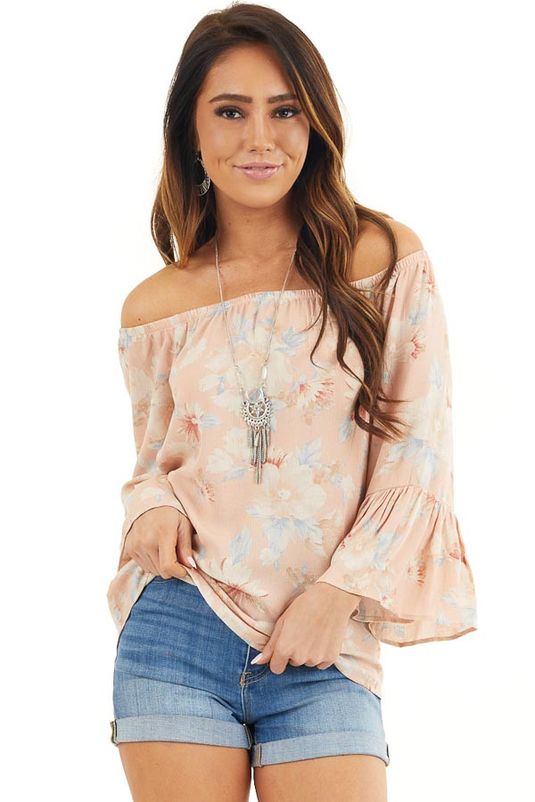 Peach Floral Off the Shoulder Top with Bell Sleeves front close up