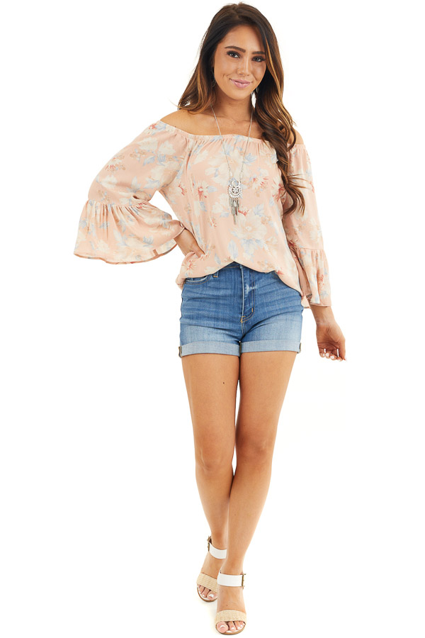 Peach Floral Off the Shoulder Top with Bell Sleeves front full body