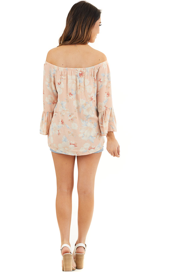 Peach Floral Off the Shoulder Top with Bell Sleeves back full body