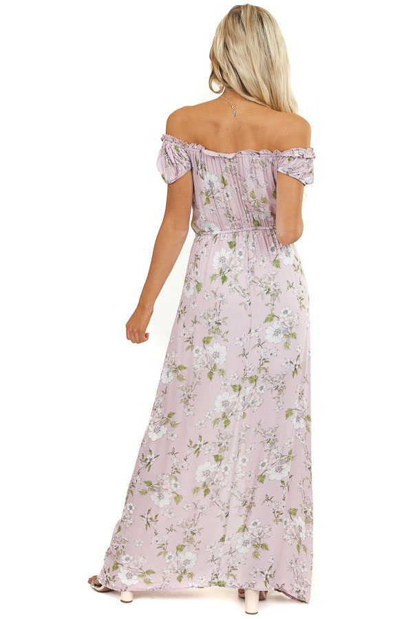 Light Mauve Floral Off the Shoulder Maxi Dress with Buttons