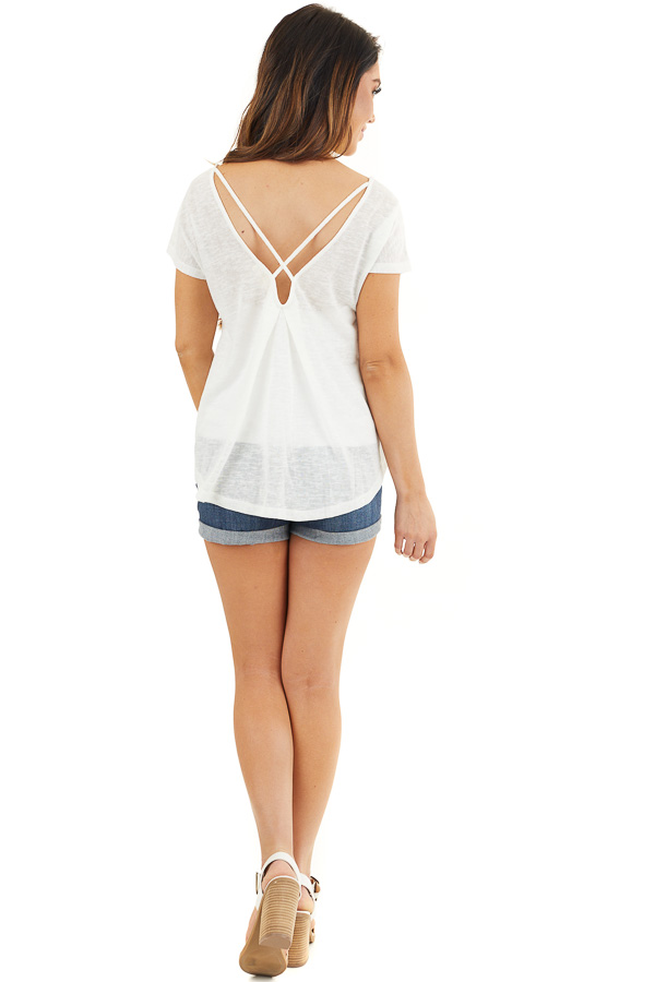 Off White V Neck Top with Criss Cross Back and Embroidery back full body