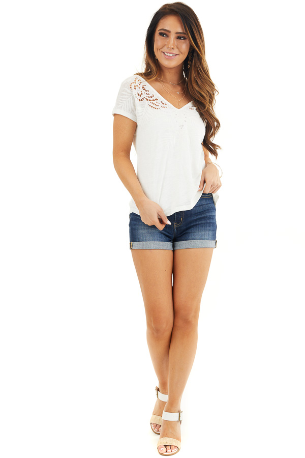 Off White V Neck Top with Criss Cross Back and Embroidery front full body