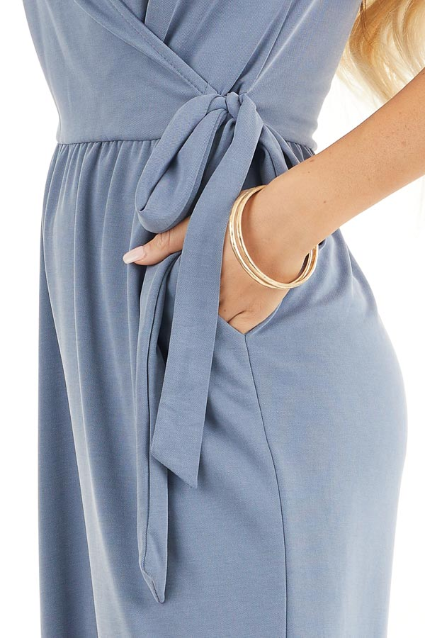 Slate Blue Sleeveless V Neck Jumpsuit with Side Tie Detail detail