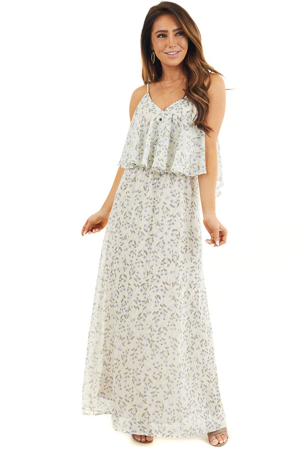 Eggshell Floral Print Sleeveless Maxi Dress with V Neckline front full body