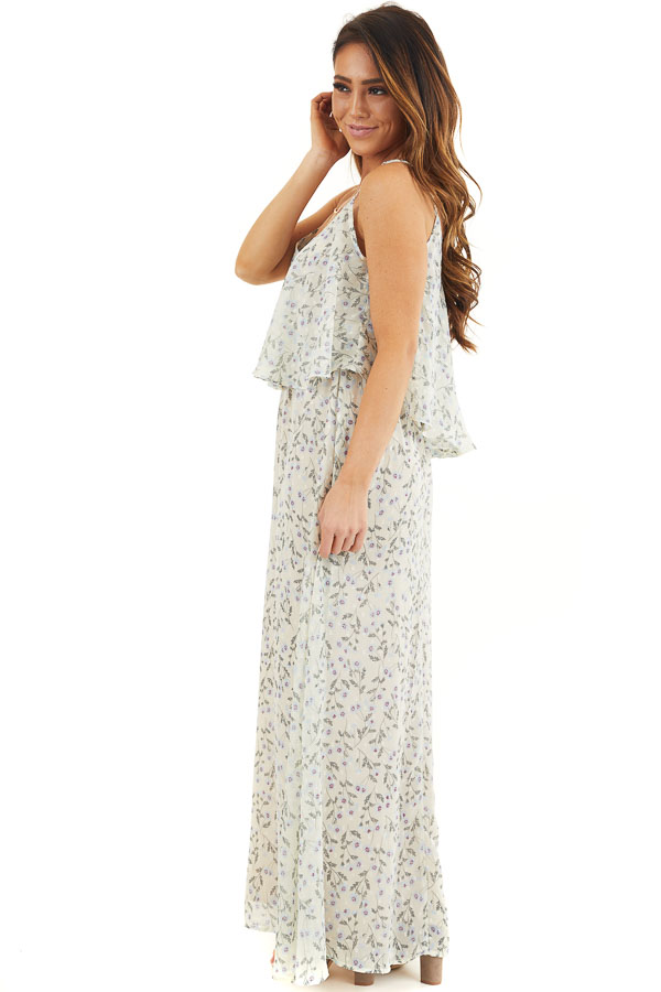 Eggshell Floral Print Sleeveless Maxi Dress with V Neckline side full body