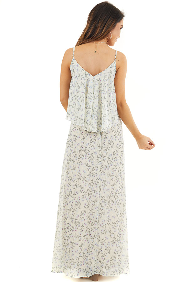 Eggshell Floral Print Sleeveless Maxi Dress with V Neckline back full body