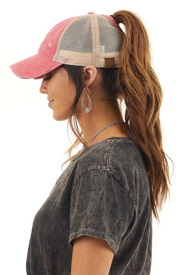 Faded Ruby Red Distressed Trucker Cap with Mesh Detail