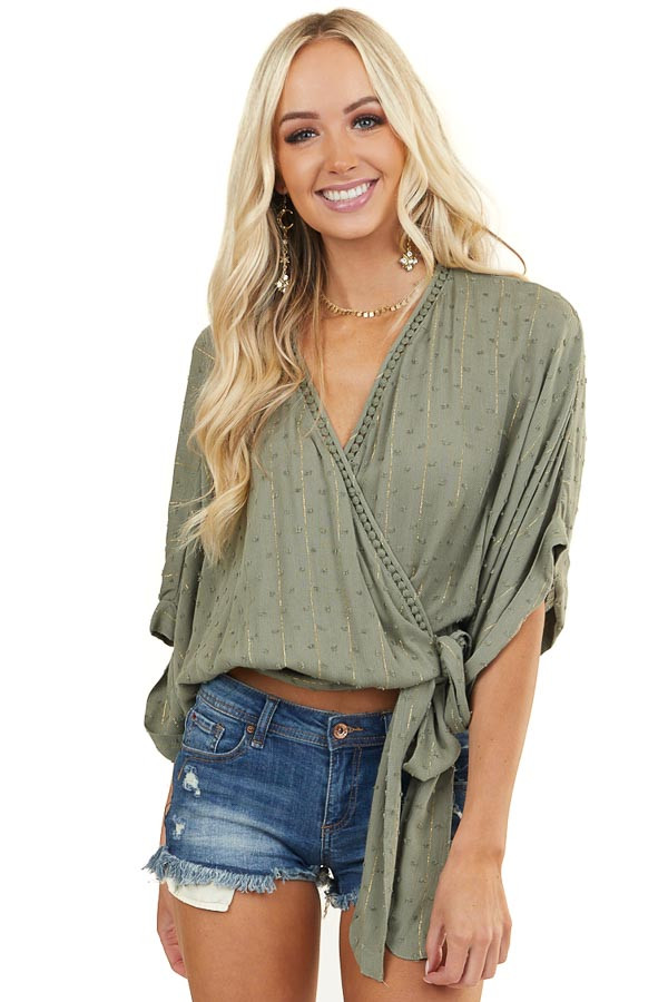 Olive Green Swiss Dot Wrap Top with Gold Details and Tie