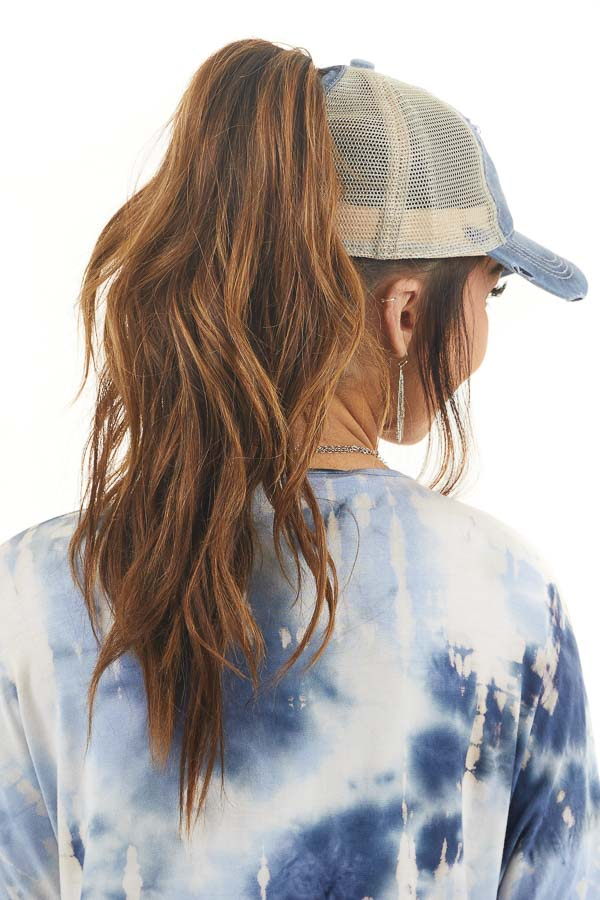 Faded Navy Distressed Trucker Cap with Mesh Detail