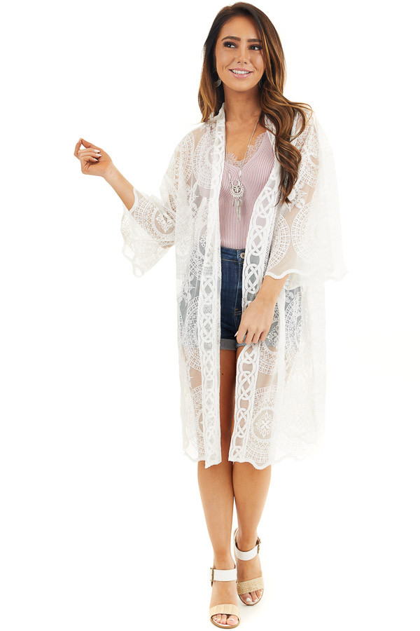 Ivory Open Front Lace Kimono with Scalloped Hemline front full body