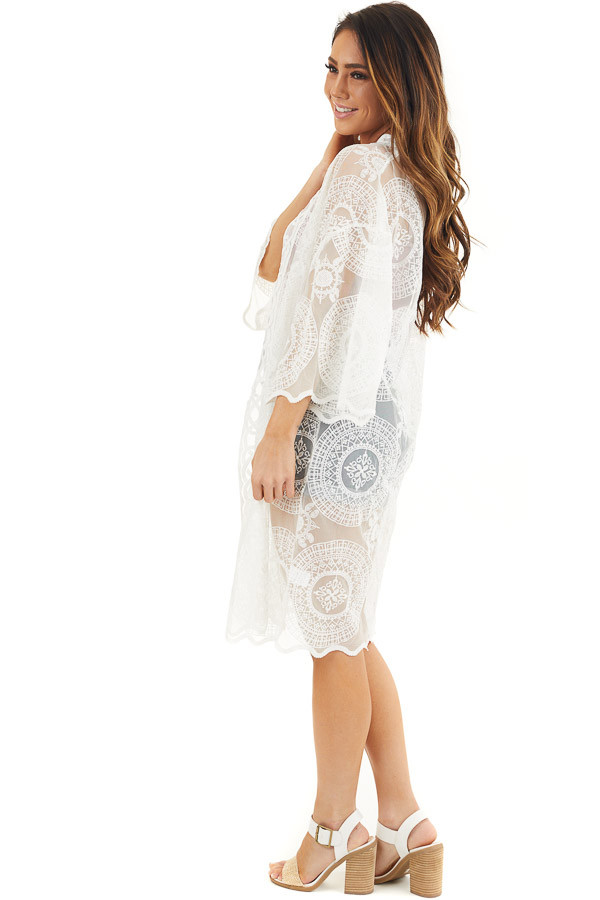 Ivory Open Front Lace Kimono with Scalloped Hemline side full body