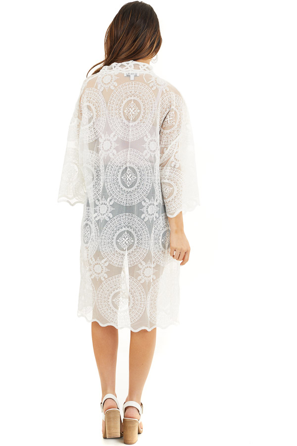 Ivory Open Front Lace Kimono with Scalloped Hemline back full body